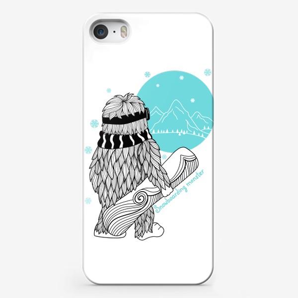 Чехол iPhone «Зима. Сноуборд и снежный человек.»