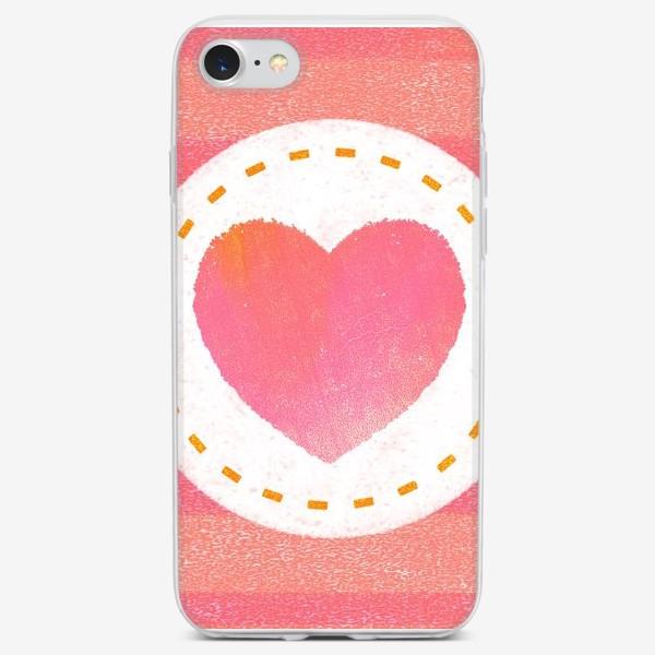 Чехол iPhone «Сердце. Нашивка. Полоски»
