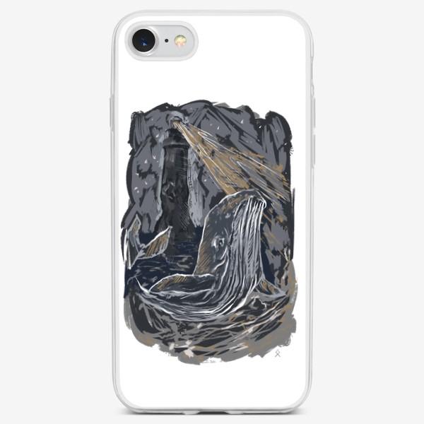 Чехол iPhone «Кит волна ночной маяк »