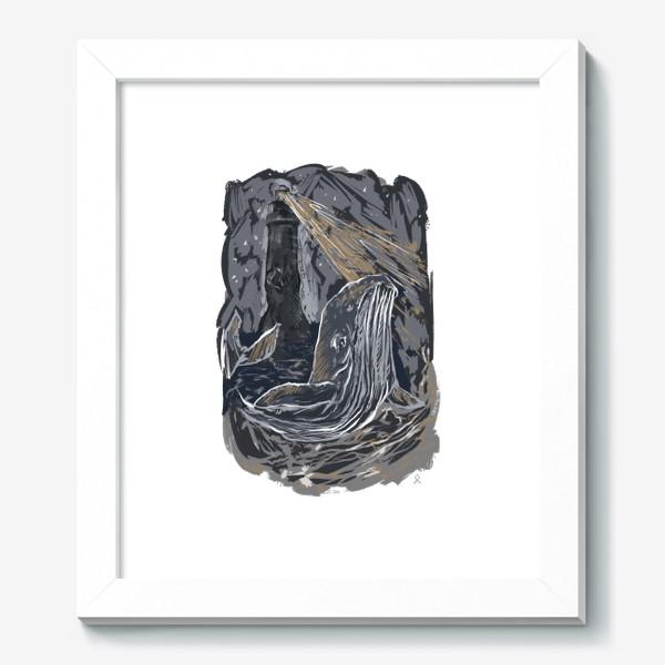 Картина «Кит волна ночной маяк »