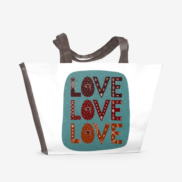 Пляжная сумка «Love. Любовь. Леттеринг. Надпись.»