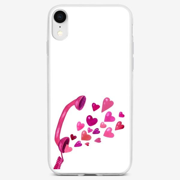 Чехол iPhone «Телефонная трубка с любовью и сердечками»