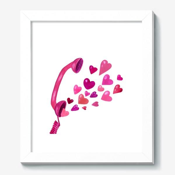 Картина «Телефонная трубка с любовью и сердечками»