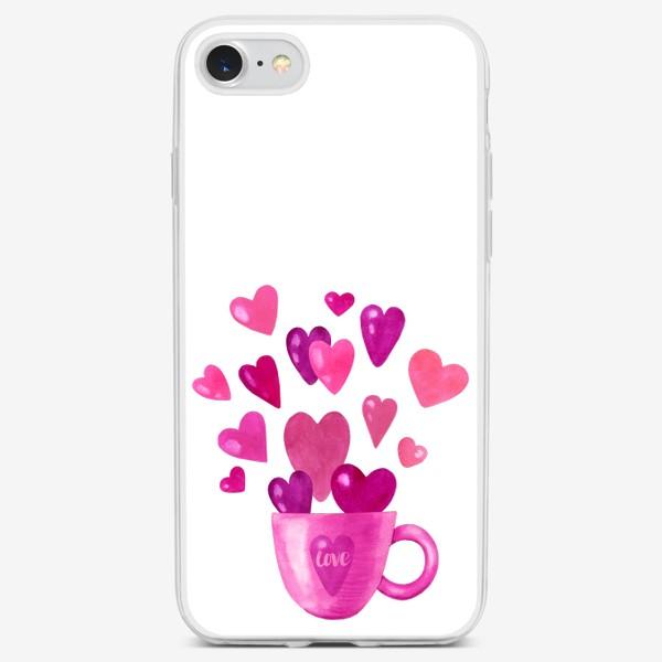 Чехол iPhone «Чашка с сердечками и надписью любовь love»