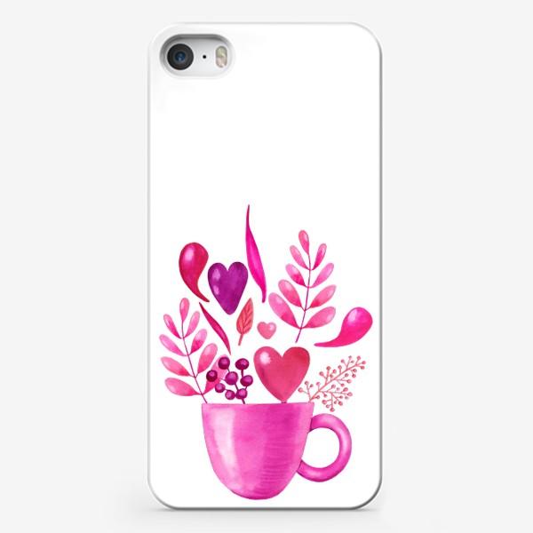 Чехол iPhone «Розовая кружка с розовыми цветами»
