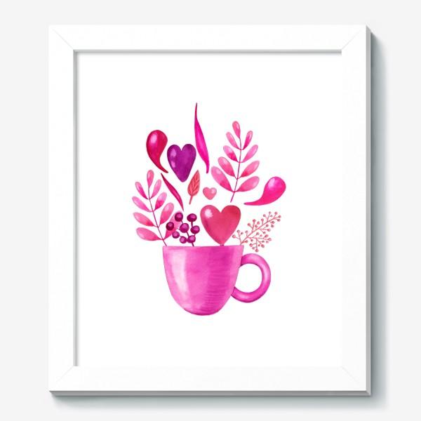 Картина «Розовая кружка с розовыми цветами»