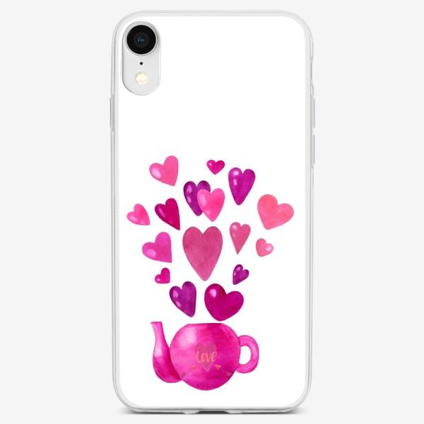 Чехол iPhone «Розовый чайник с любовью и сердечками »