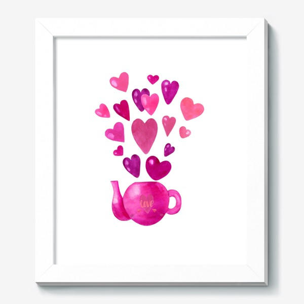 Картина «Розовый чайник с любовью и сердечками »