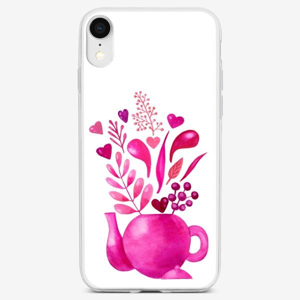 Чехол iPhone «Розовый чайник с розовыми растениями и надписью любовь - love»