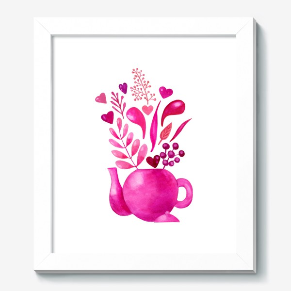 Картина «Розовый чайник с розовыми растениями и надписью любовь - love»