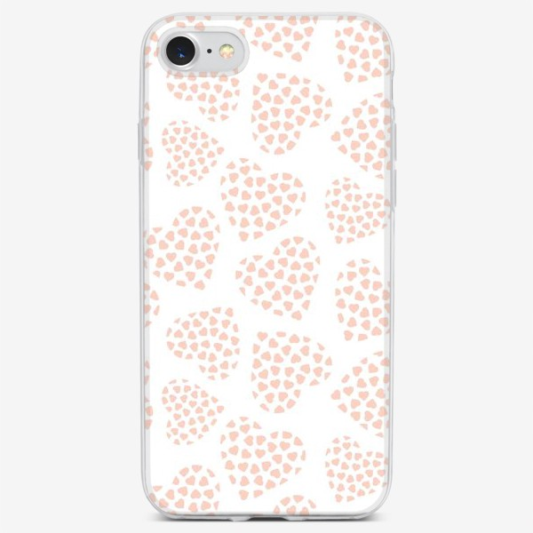 Чехол iPhone «Delicate hearts of peach color for lovers. Seamless pattern.»