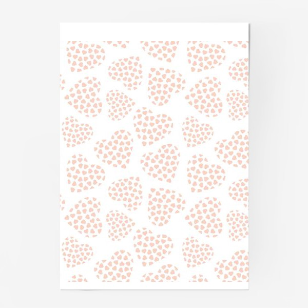 Постер «Delicate hearts of peach color for lovers. Seamless pattern.»