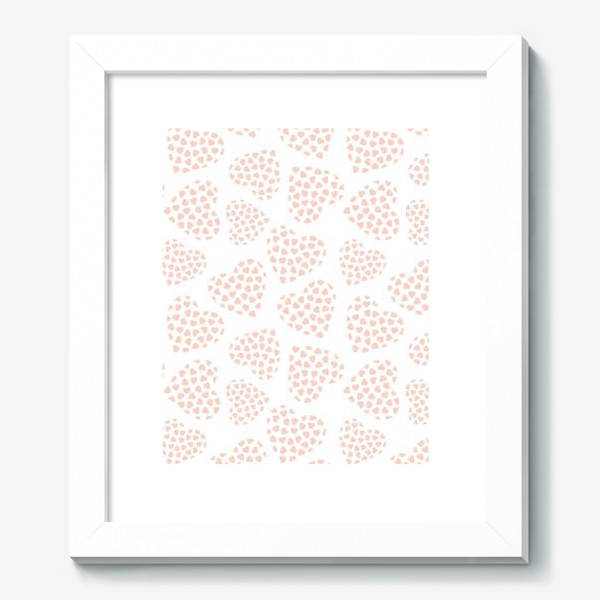 Картина «Delicate hearts of peach color for lovers. Seamless pattern.»