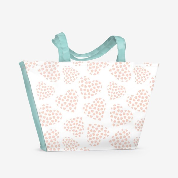 Пляжная сумка «Delicate hearts of peach color for lovers. Seamless pattern.»