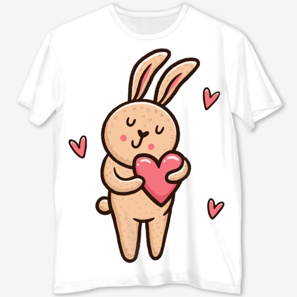 Футболка с полной запечаткой «Милый зайчик с сердечком»