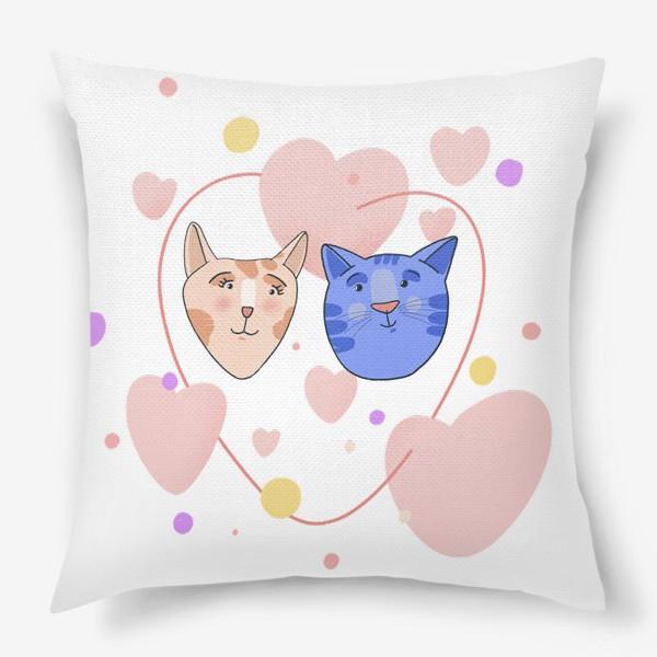 Подушка «Влюблённые котики»