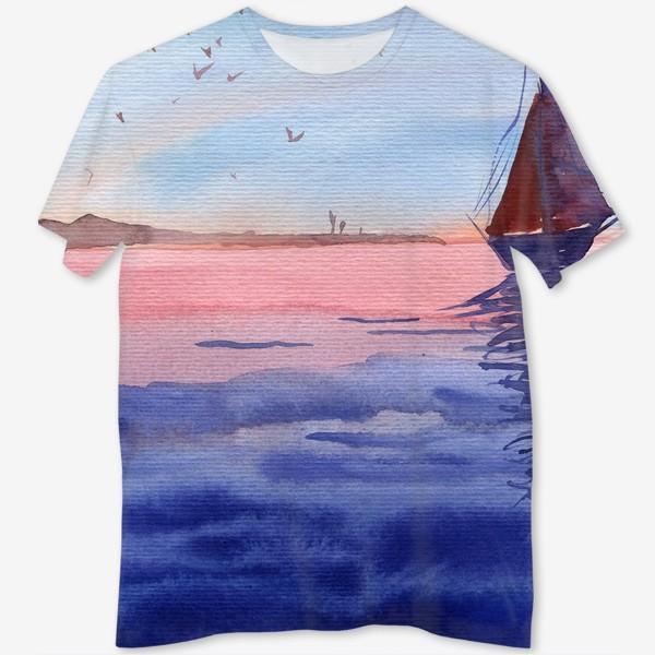 Футболка с полной запечаткой «море и лодка»