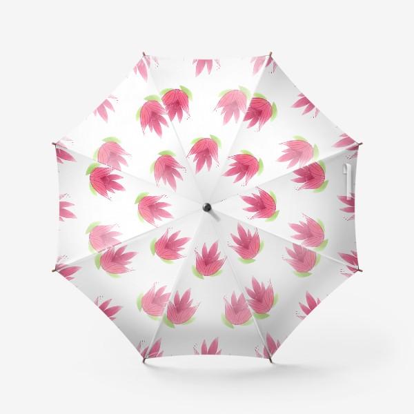 Зонт «Розовые цветы. Паттерн»