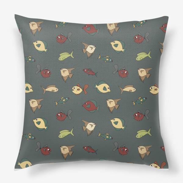 Подушка «Разноцветные рыбки»
