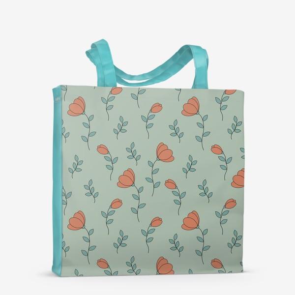 Сумка-шоппер «Тюльпаны на светло зеленом фоне»