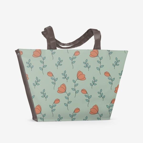 Пляжная сумка «Тюльпаны на светло зеленом фоне»