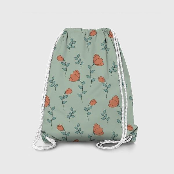 Рюкзак «Тюльпаны на светло зеленом фоне»