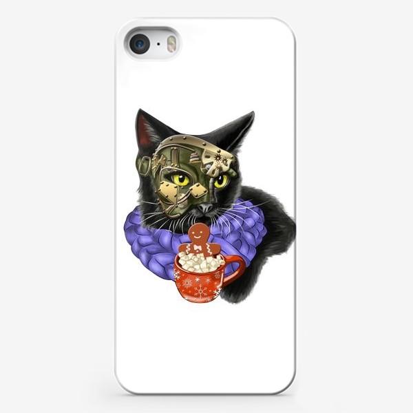 Чехол iPhone «Кот стимпанк в шарфике»