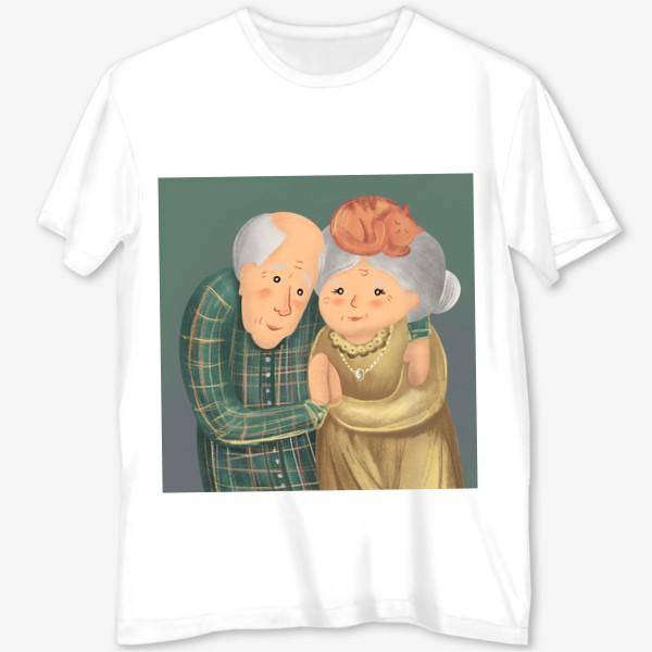Футболка с полной запечаткой «Бабушка и дедушка. Любовь. »