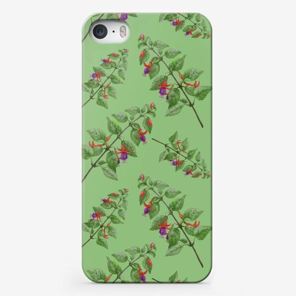 Чехол iPhone «Цветы фуксии на светло зеленом фоне»