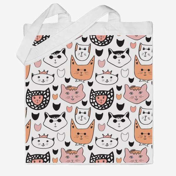 Сумка хб «Теплые коты. Паттерн с котиками»