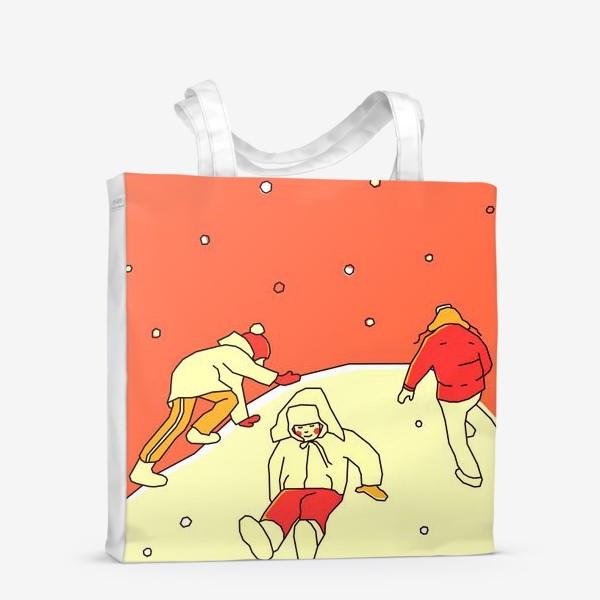 Сумка-шоппер «Зимние забавы. Царь горы. День. Детская иллюстрация.»