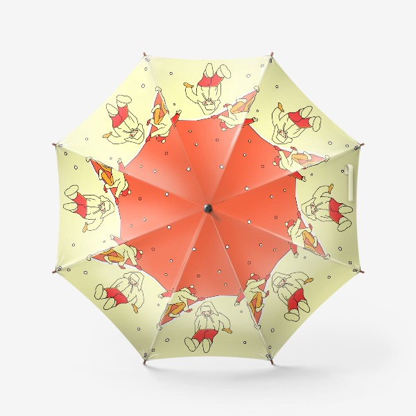 Зонт «Зимние забавы. Царь горы. День. Детская иллюстрация.»