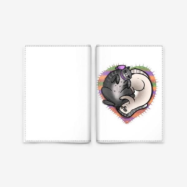 Обложка для паспорта «Влюблённые коты »