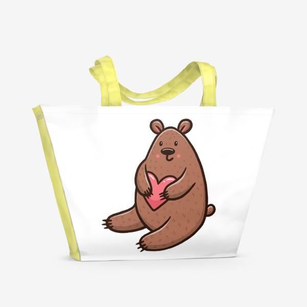 Пляжная сумка «Милый медведь с сердечком»