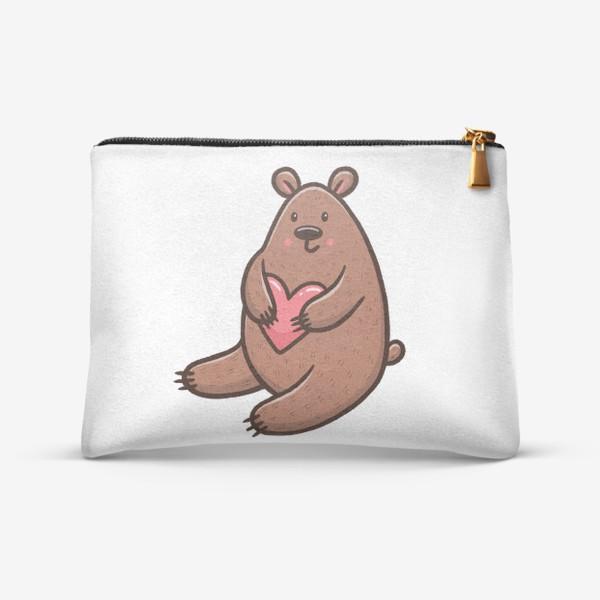 Косметичка «Милый медведь с сердечком»