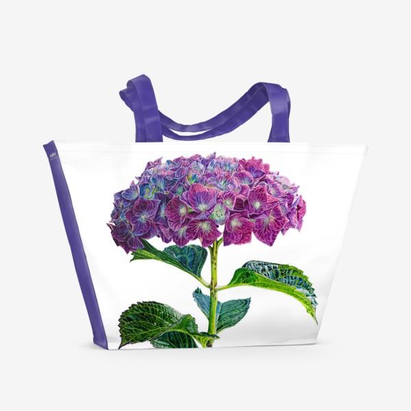 Пляжная сумка «Цветок Гортензия акварель»