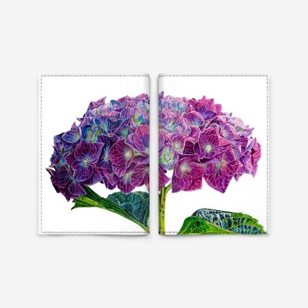 Обложка для паспорта «Цветок Гортензия акварель»