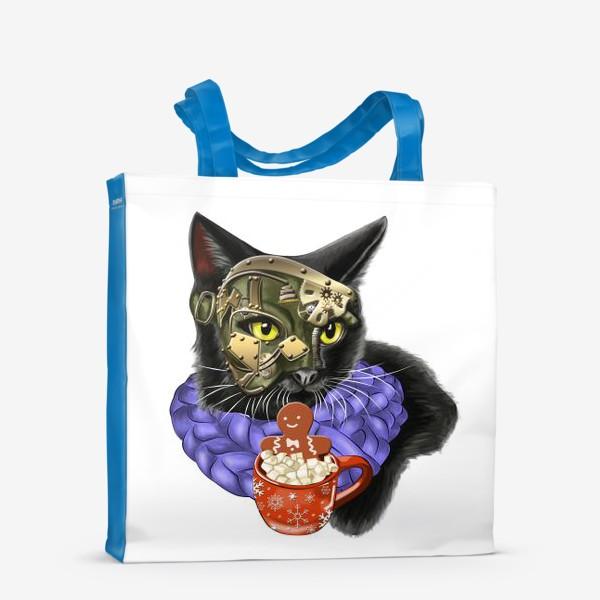 Сумка-шоппер «Кот стимпанк в шарфике»