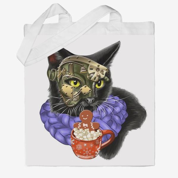 Сумка хб «Кот стимпанк в шарфике»