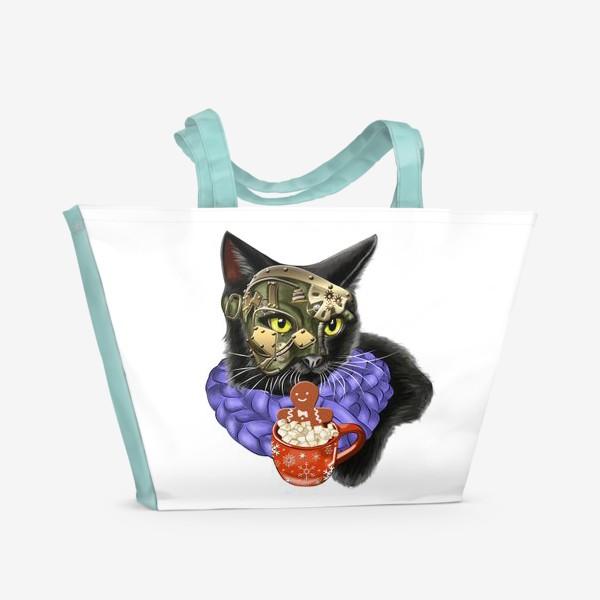 Пляжная сумка «Кот стимпанк в шарфике»