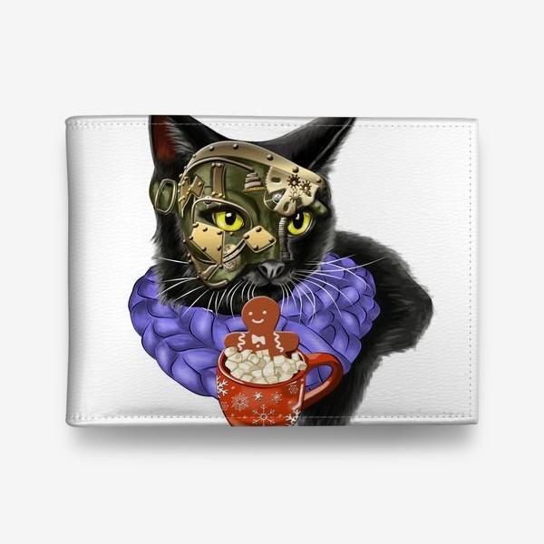 Кошелек «Кот стимпанк в шарфике»