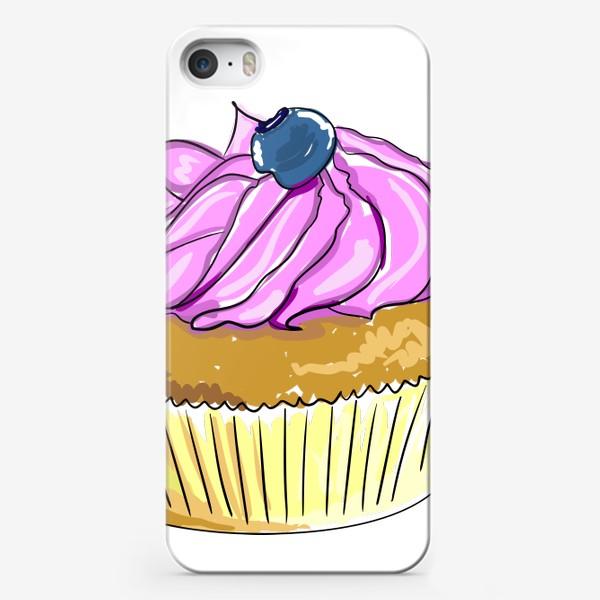 Чехол iPhone «Пирожные с черникой. Капкейки с кремом. Кексы ягодные»