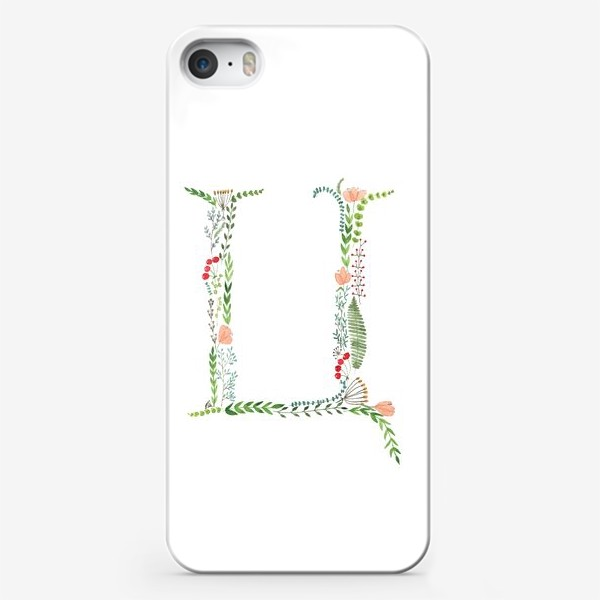 Чехол iPhone «Буква Ц из веточек, листиков, цветов и ягод.»