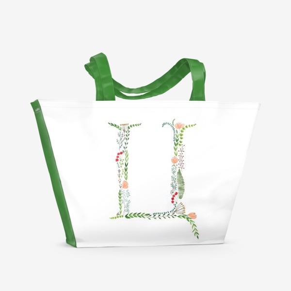 Пляжная сумка «Буква Ц из веточек, листиков, цветов и ягод.»