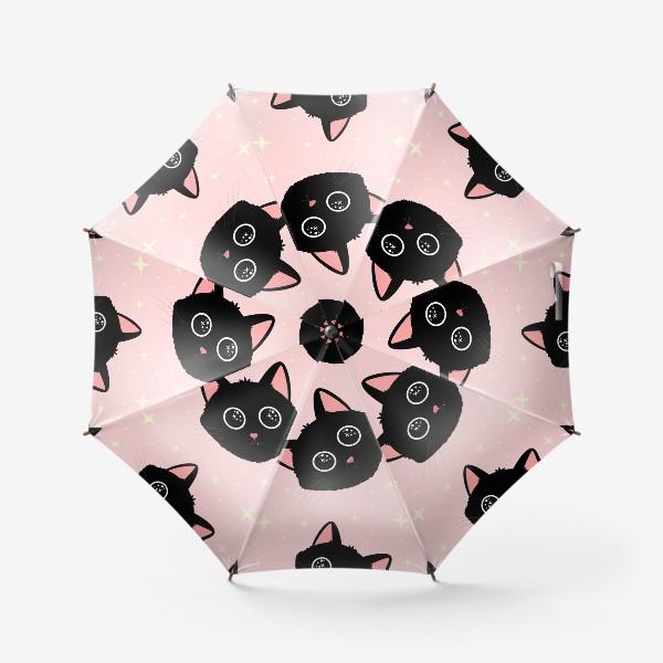 Зонт «Узор с милыми черными котиками на розовом фоне»