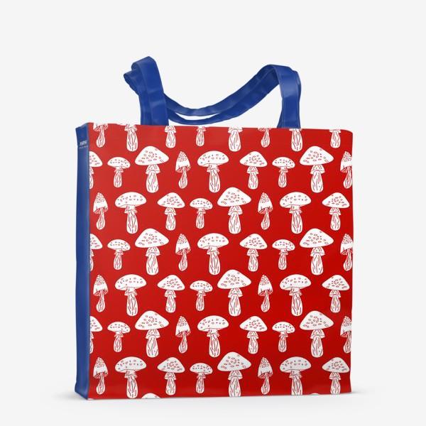 Сумка-шоппер «Грибы на красном фоне»