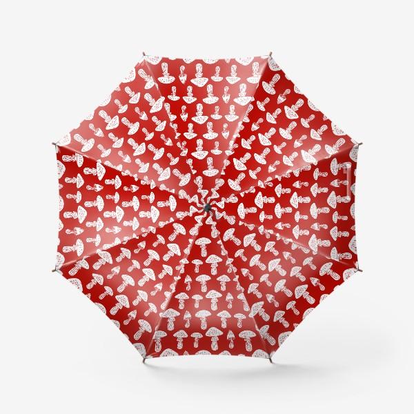Зонт «Грибы на красном фоне»