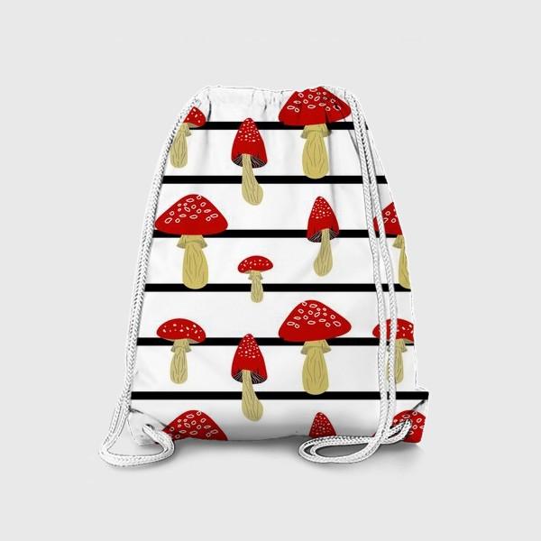 Рюкзак «Мухоморы и полосы»