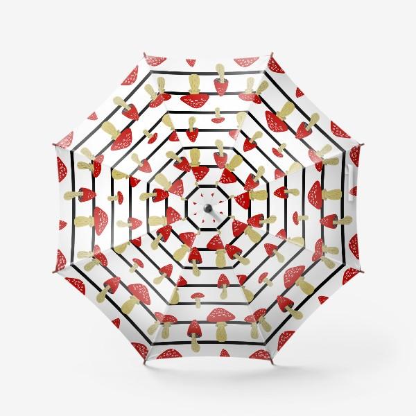 Зонт «Мухоморы и полосы»