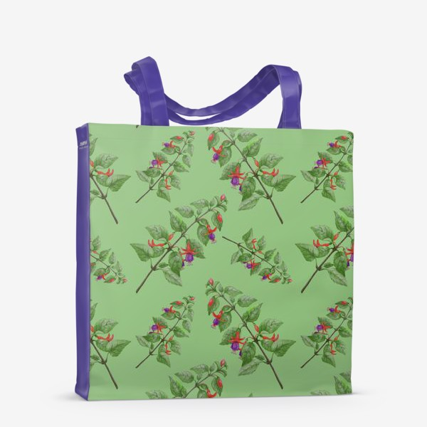 Сумка-шоппер «Цветы фуксии на светло зеленом фоне»